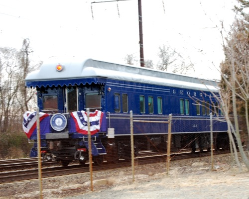 The president-elect's coach passes Elkton station