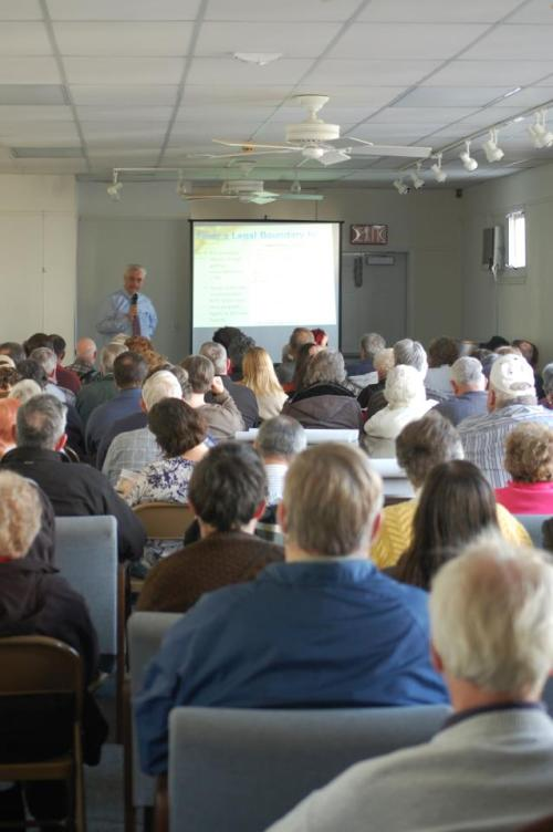 It was a stadning room only crowd in the large gallery room for the talk on the Mason Dixon LIne. Photo Credit: Dave Scarbrough
