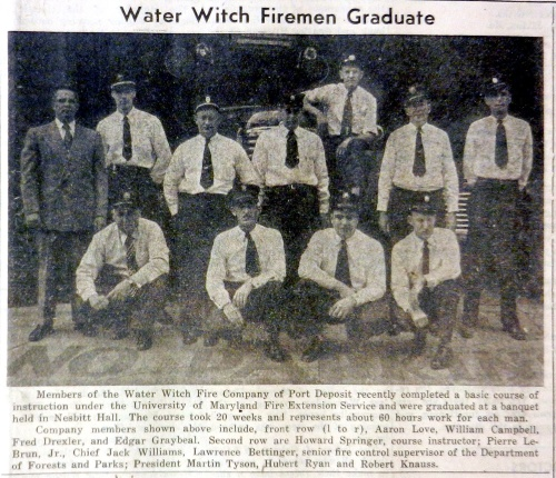Members of the Water Witch Fire Company complete basic Fire Extension Service training in 1952