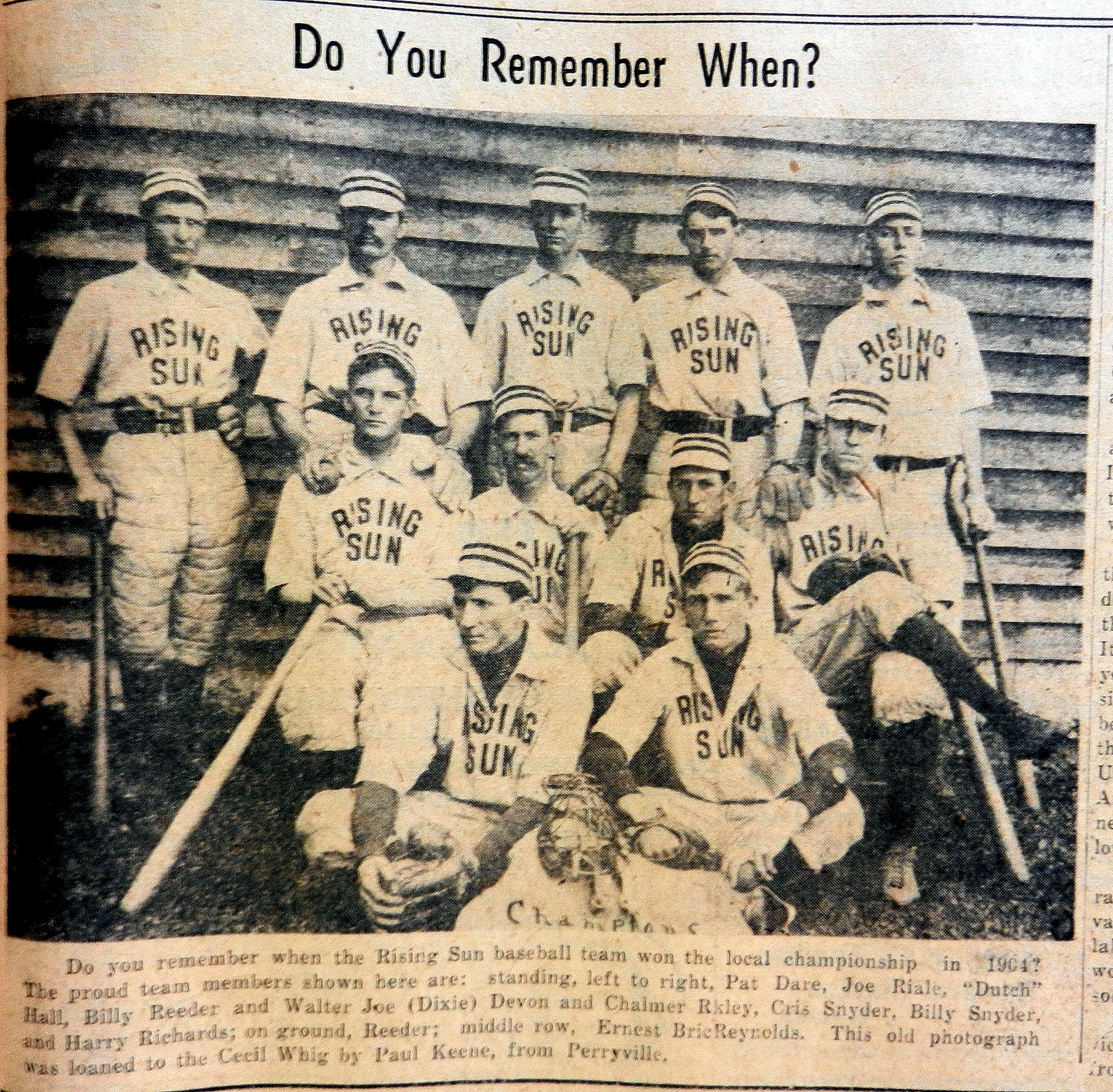 Whig Asks – Do You Remember the Rising Sun Baseball Team in 1904
