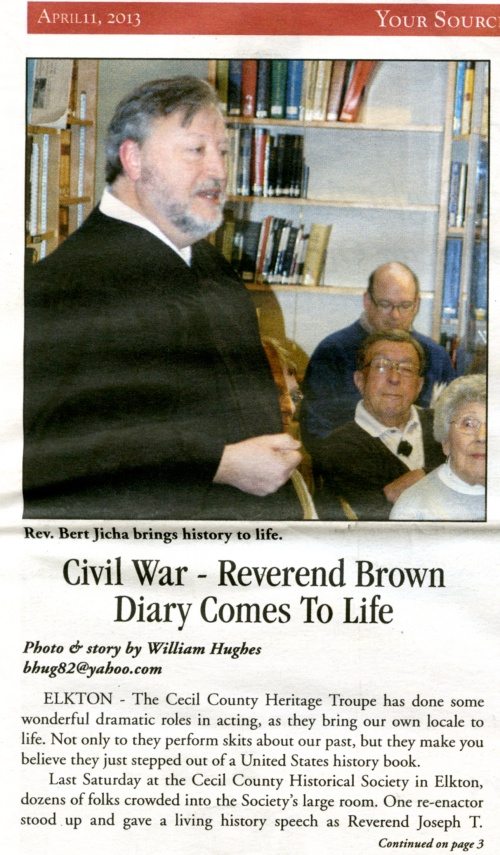 The Rev. Hubert Jicha playing the part of the Civil War chaplain, the Rev. Brown, at the opening.