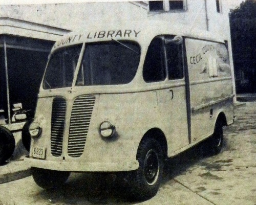 The Cecil County Library's First bookmobile in 1947.  Source:  Cecil Whig.