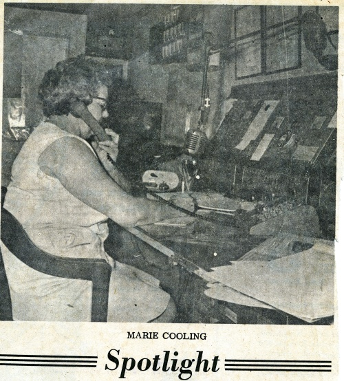 Marie Cooling, a fire dispatcher, takes a call.  Source:  Cecil Democrat, Aug. 30, 1967/