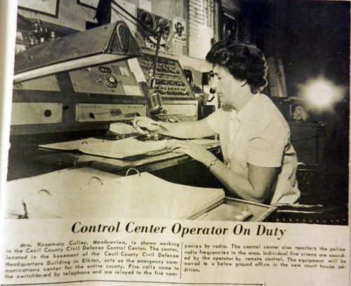 Rosemary Culley, another original dispatcher, handles the fire board in 1966.  Source: Cecil Whig, Dec. 14, 1966