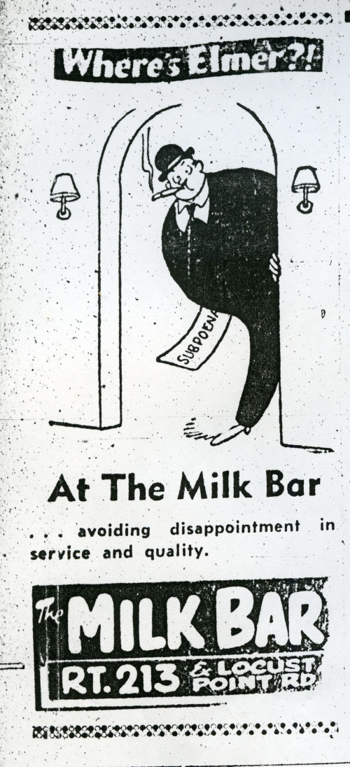 At the Milk Bar in Cecil County. Cecil Whig Advertisement, 1960