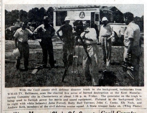 When an explosion charred five acres of the Kent Manufacturing Company Fireworks plant, the CD rescue truck responded.  John Farrell, John C. Cooke, and Andrew Seth, were the crew on the truck.  Source:  Cecil Democrat, July 22, 1954.
