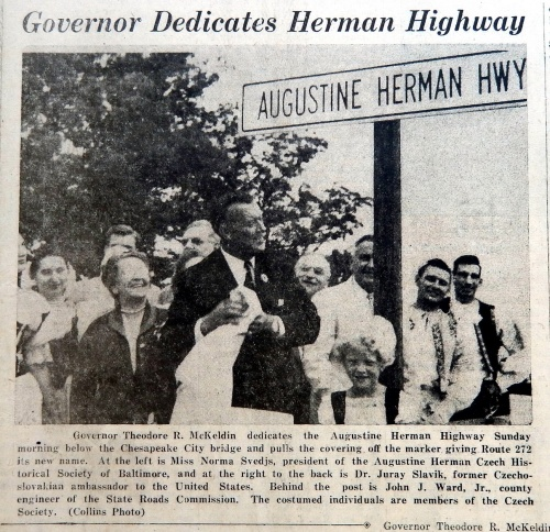 Governor McKeldin dedicates the Augustine Herman Highway in 1956.  Source Cecil Whig August 2, 1956