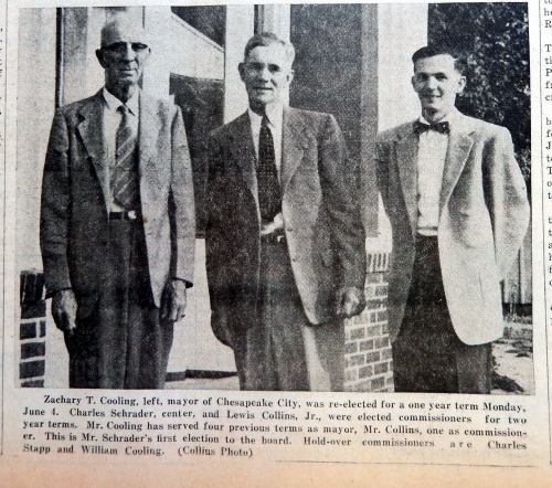 Chesapeake City Town Council in 1956