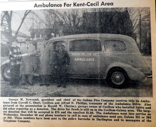 Galena Fire Company Ambulance, Cecil Democrat, January 14, 1954