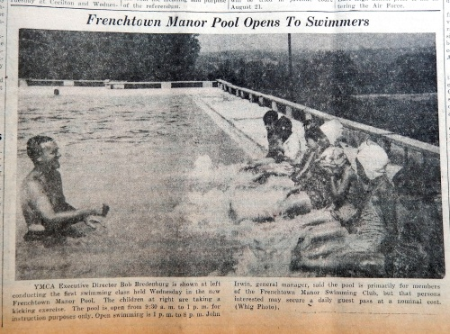 The Frenchtown Pool opened in 1953.  Source:  Cecil Whig, August 13, 1953
