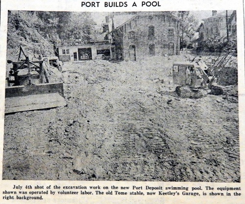 Excavation work is well underway for the Port Deposit Pool in July 1949.  Source:  News Courier, July 22, 1949