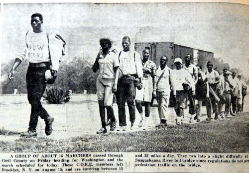 CORE members march through Cecil County in August 1963.  source:  Cecil Whig, Aug. 28, 1963