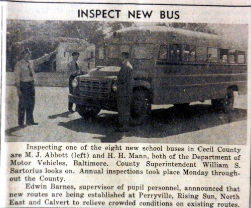 Eight new school buses for Cecil County in 1951.