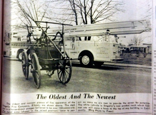 Singerly Fire Company's oldest and newest firefighting apparatus in 1966.