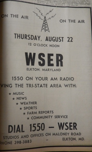 Elkton Radio Station WSER had gone on the air earlier in 1963.