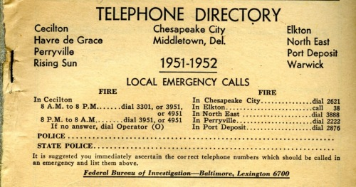 Cecil County phone books give instructions on how to report an emergency.