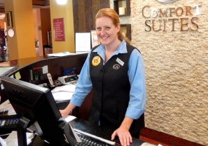 Amy Foard, Front Desk Manager, at the Comfort Suites in Elkton.