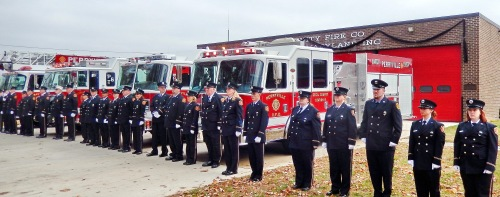 The Community Fire Company of Perryville pays respects to Captain Barr.  Photo Credits:  Eileen Edelin.