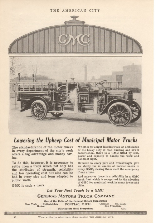 An advertisement for General Motors fire trucks in the magazine, American City, June 1918.  Singerly Fire Company had purchased a GMC unit, a few years earlier.