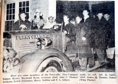 Perryville Volunteer Fire Company's pumper is ready to respond.  Source:  Cecil Whig, 1953.