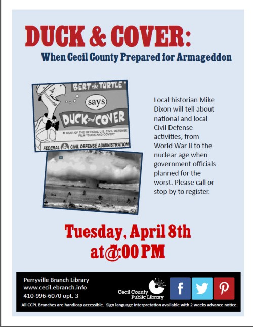 Duck and Cover at the Perryville Library, April 8th.