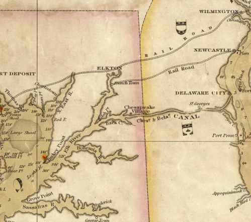 Chart of the Chesapeake and Delaware Bays, Fielding Lucas:  Source:  www.oldmapsonline.org, the David Rumsey Collection