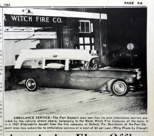 The new Water Witch Ambulance, a 1957 Oldsmobile purchased from the Union fire Company of Oxford.  Source:  Cecil Whig, Nov. 4, 1964.