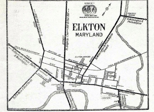Part of 1919 American Automobile Association Map of Elkton, MD.  Source:  University of Delaware Rare Maps Collection, via Digital Public Library of America