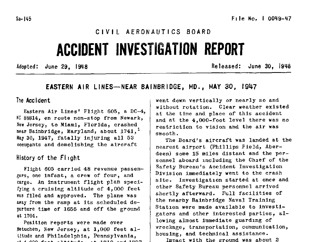 window on cecil county s past cab investigation report for eastern airlines crash in 1947 near bainbridge md