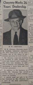 H. W. Cheyney Marked 26 Years in business in 1954. Source:  Cecil Democrat, June 20, 1954