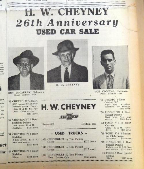 Cheyney's use car sale.  Source:  Cecil Democrat, June 20, 1954
