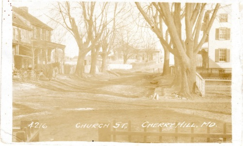 "A faded, Cherry Hill postcard mailed from that community Nov. 26, 1908.  It was mailed to Miss Anna Pedrick, Dover, NJ.  This was a Ed Herbener photo and the message simply said ""arrived home safe."""