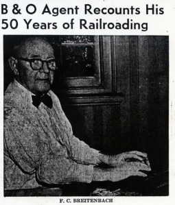 F C. Breitenbach B & O Station Agent at Childs.  Source:  Cecil Democrat, Oct. 7, 1954