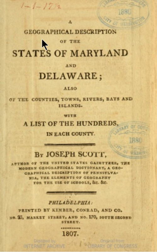 Geographical Description of the State of Maryland and Delaware