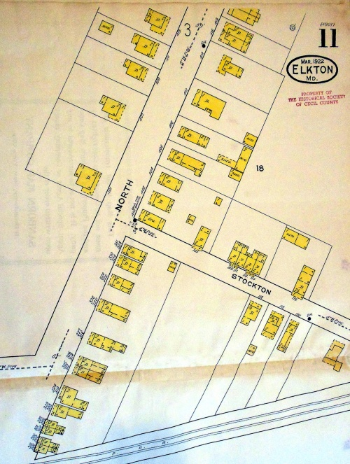 A 1922 Sanborn map showing the North Street area  before the houses were moved. Source:  Historical Society of Cecil County Collection.