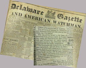 Announcement for the opening of the C&D Canal  as provided in the Delaware Gazette newspaper in October 1829