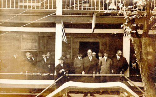 President William Howard Taft speaking from the porch of the Howard Hotel in May 1912.  source:  personal collection.