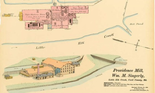 Providence Paper Mill, 1890, Hexamer Map.  Source:  Philadelphia Free Library