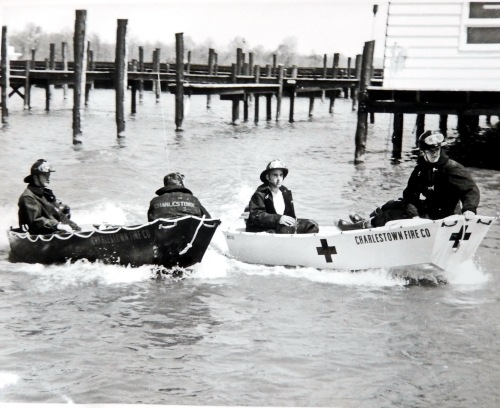 The Charlestown Volunteer Fire Company deployed two boats to respond to water emergencies in 1958.  photo credit:  Charlestown Volunteer Fire Company