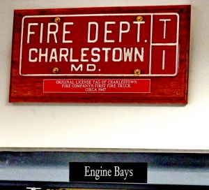 Original license tag of Charlestown Fire Company's first fire truck, circa 1947.  photo credit:  Charlestown Volunteer Fire Company.
