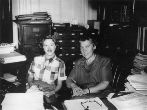 AAVSO Director Margaret Mayall (left) talks with Administrative Assistant, Helen Stephanski (left) in 1953.  Photo Credit:   The blog Simostronomy  http://simostronomy.blogspot.com/2010/11/100-years-of-citizen-science.html
