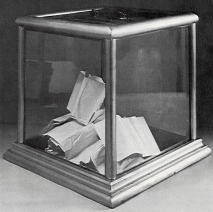 A ballot box from Carroll County, MD. used in 1900.  source:  Maryland State Archives.