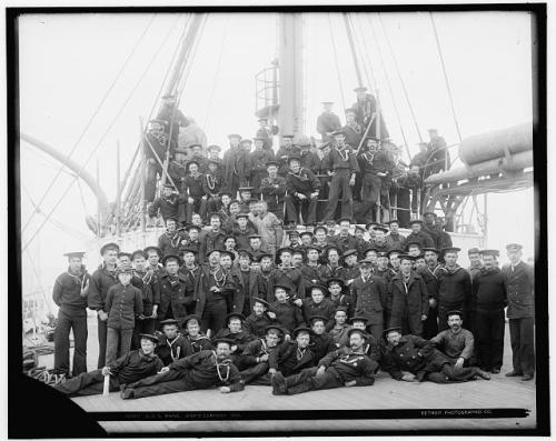 Crew members on the Battleship Maine in 1896.  Source:  Library of Congress http://www.loc.gov/pictures/resource/det.4a14368/?co=det