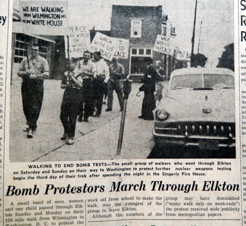 Bomb protests in downtown Elkton,.  Source:  Cecil Whig, May-25-1958