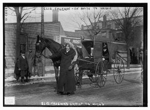 Suffragist Elizabeth Freeman of the New York Suffrage Association on her way to join the March 3, 1913 suffrage march in Washington. D. C.  Source:  Library of Congress http://www.loc.gov/pictures/item/ggb2005012536/