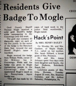 Newspaper article on the gift of solid gold badge to Sheriff Thomas J. Mogle.  source:  Cecil Democrat, Sept. 2, 1970