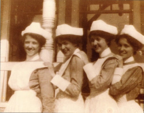 First nursing class graduates.  L to R:  Mary King, Alice Denver, Stella Graves, Georgia Miller.  Source:  Union Hospital: Celebrating the first 100 years.