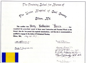The diploma for Mary Beers, awarded in 1917.  source:  Union Hospital, Celebrating the First 100 Years.