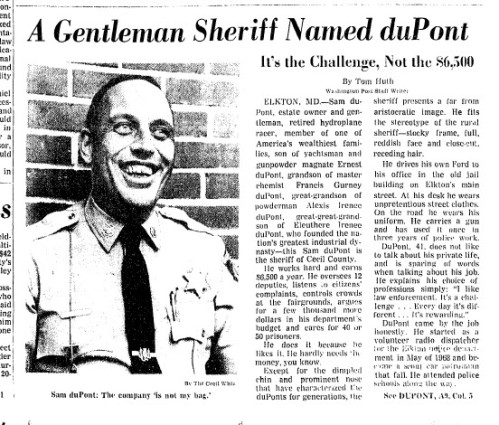 A gentleman sheriff named Du Pont source: Washington Post, May 27 1971